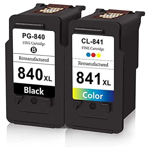 DLKJ 840XL 841XL Cartuchos de Tinta compatibles para Canon PG-840 XL CL-841 XL, Trabajo de Alto Rendimiento con PIXMA MG2180 MG3180 MG4180 MX398 MX438 MX518 (Paquete de 2 Black+Color