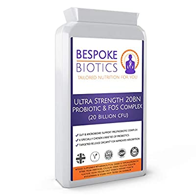 Ultra Strength Probiotic & FOS Complex (20 Billion cfu) 120 Vegan Capsules 6 Strain Active Bacterial Cultures Targeted Release Acidophilus Bifidobacterium Streptococcus Thermophilus UK Manufactured