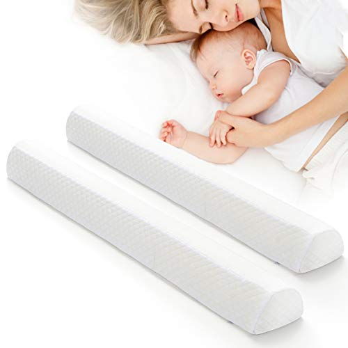Toddler Bed Rail Bumpers [2 Pack] Safety Sleep Bedside Rail Guard for Toddlers & Kids & Baby | Memory Foam Long Pillow Pads with Non-Slip Machine Washable Cover Shinnwa