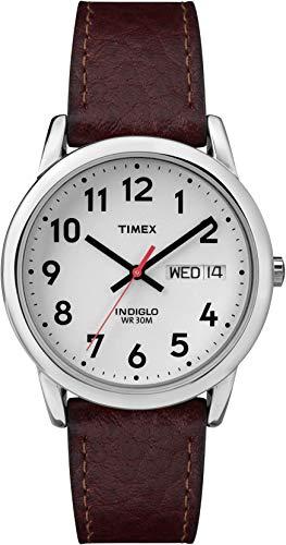 Timex T200419J - Reloj análogico de cuarzo con correa de cuero para hombre, color marrón/plata