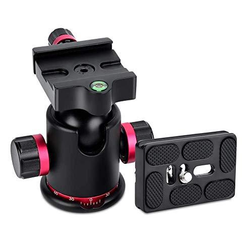 Cabezal de bola para trípode de cámara, rótula de bola panorámica giratoria de 360 grados - Carga máxima 5-10 kg - con 3 adaptadores de tornillo de 1/4'a 3/8' (rojo)