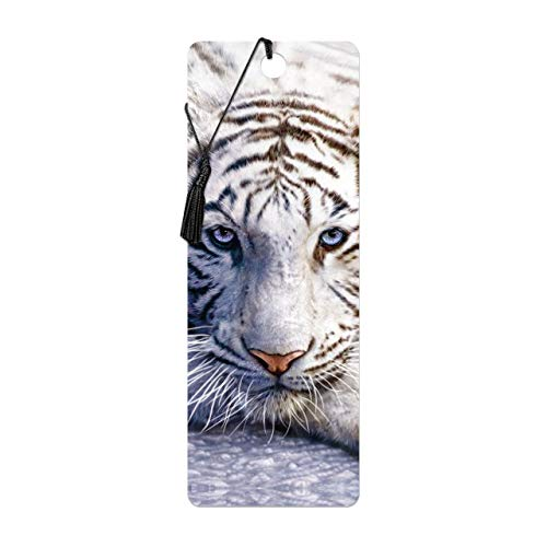 Bookmark 3D LiveLife - weißer Tiger Repose. Lentikulare Grafik 3D geholt Ihnen durch Deluxebase, genehmigt vom bekannten Künstler David Penfound, einschließlich eine dekorative farbige Quaste.