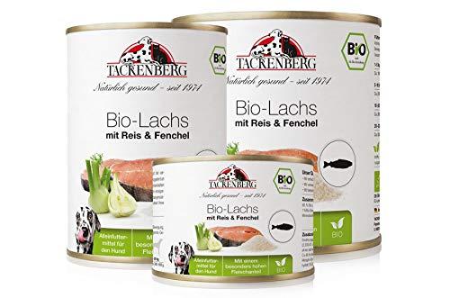 Tackenberg Hundefutter, Nassfutter Hunde, 100% Bio Lachs mit Reis & Fenchel, Premium Dosenfutter