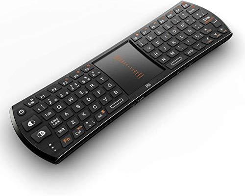 Rii Mini i24T (spanisches Layout) Wireless Tastatur mit Maus Touchpad für Smart TV, Mini PC, Android, PlayStation, Xbox, HTPC, PC, Raspberry Pi A B B+, Kodi