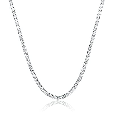 GEMSME 18K White Gold Plated 4.00mm Round Cubic Zirconia Classic Tennis Necklace 18 Inch