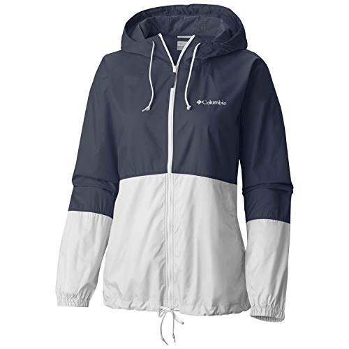 Columbia 1585911 FLASH FORWARD, Cortavientos impermeable, Mujer, Poliéster, Azul (Nocturnal/White), Talla XS