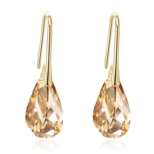Orecchini Donna Argento 925 Orecchini pendenti con cristalli Orecchini pendenti in oro Orecchini a goccia in argento da donna (Oro)