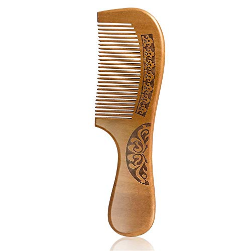 Wapodeai Carving Flouers Wooden Comb Hair Combs for Women Premium AntiStatic Peach Wood Hair Comb Fine Tooth