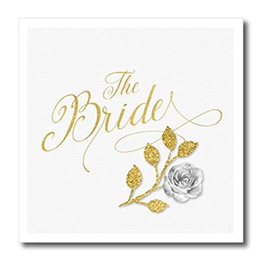 3dRose ht_240099_2 Faux Gold Leaf and Silver for The Bride Typography with White Rose Iron On Heat Transfer, 6