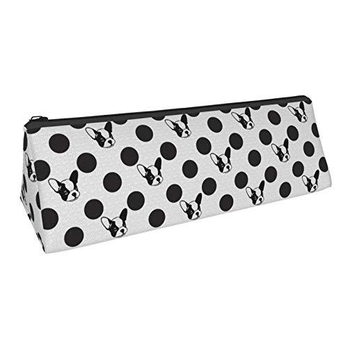 Black and White French Bulldog Dot Zipper Oxford Cloth Pen Bag Pencil Case for Teenagers Women Men