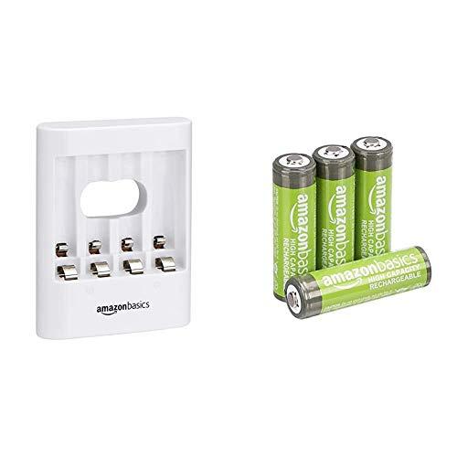 Amazon Basics - Pilas AA Recargables de Alta Capacidad, precargadas, Paquete de 4 (el Aspecto Puede Variar) + Cargador de Pilas USB, Color Blanco