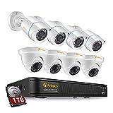 Anlapus Full HD 1080P Kit Caméra de Surveillance - Enregistreur avec Disque Dur 1 to, 4pcs Caméra Surveillance Extérieure Bullet et 4pcs Caméra Surveillance Extérieure en Dôme- App Gratuite