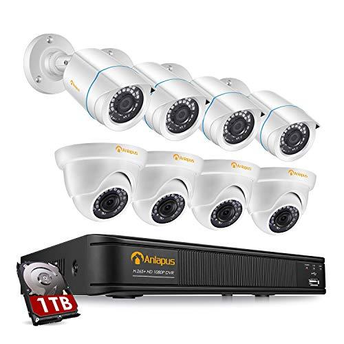 Anlapus Full HD 1080P Kit Caméra de Surveillance - Enregistreur avec Disque Dur 1 to, 4pcs Caméra...