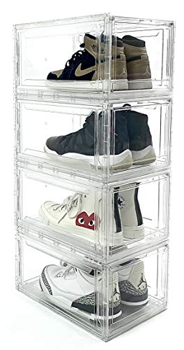 Kleerbox Shoe Box Organizer - 4 Pack - Acrylic - Secure Stacking Shoe Rack - Shoe Organizer - Closet Storage Organizer - Shoe Container for Display - Magnetic Drop Front - Dust, Crease Proof - Clear