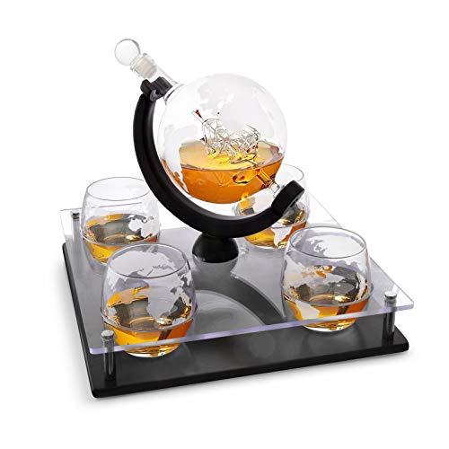 Bezrat Etched Globe Whiskey Decanter Set + 4 Whisky Glasses 10 Oz....