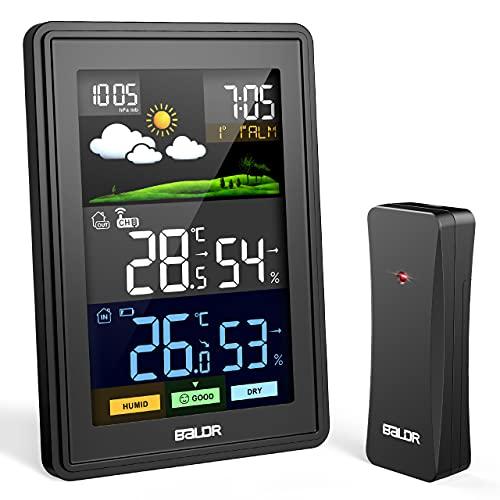 Eprestar Stazione Meteo, Automatica Digitale Wireless Stazione Meteorologica, Previsioni Meteo Schermo LCD Sveglia Calendario, Meteo Igrometro Interno ed Esterno Termometro con Sensore Esterno