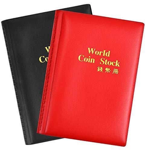 Dokpav Album della Collezione di Monete, Raccoglitore per Collezione di Monete, 2 Pacchi, 240 Tasche(1 Nero + 1 Rosso)