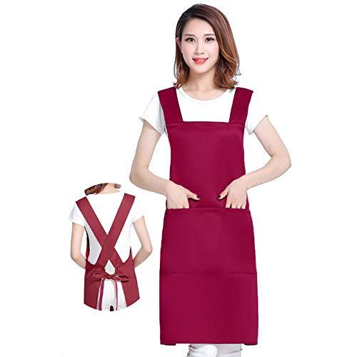 JFBZS Schürze Damen Mann bratort männer, Küchenschürze Männer und Frauen, Outdoor-Grill Kellner Arbeitskleidung-X-Wine Red