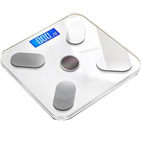 Básculas de grasa corporal Bluetooth de energía solar, báscula de baño de peso digital, báscula de pesaje de alta precisión para analizador de composición corporal, aplicación inteligente,180kg,Blanco