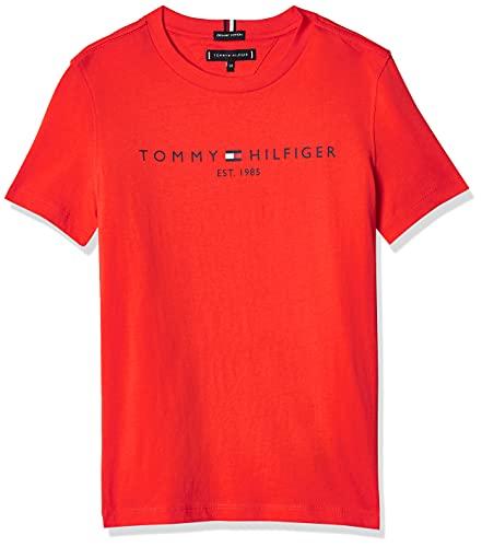 Tommy Hilfiger Essential Logo tee S/S Camiseta, Escarlata Atrevido, 14 años para Niños