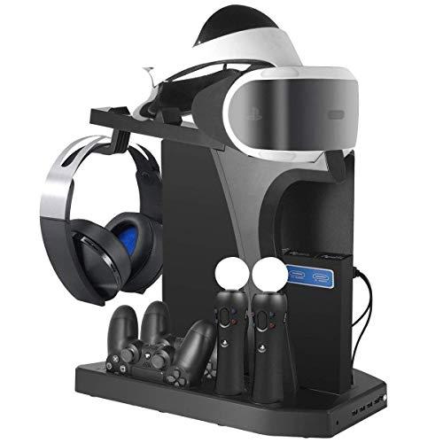 Supporto Verticale per PlayStation - Fisound PS VR Vertical Stand, Ventola di Raffreddamento, Stazione di ricarica e USB Hub per DualShock, Move Controller di Movimento e Navigazione, PS4, Pro, Slim