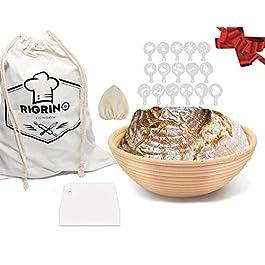 RIGRIN Panier à pain rond de 25,4 cm, 1 grattoir à pâte en plastique, 16 pochoirs décoratifs, 1 panier en lin, 1 grand…