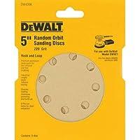 5-Pack Dewalt 5 Inch 8 Hole 220 Grit Hook and Loop Random Orbit Sandpaper
