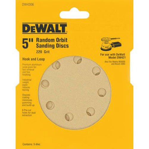 DEWALT DW4306 5-Inch 8 Hole 220 Grit Hook and Loop Random Orbit Sandpaper (5-Pack)