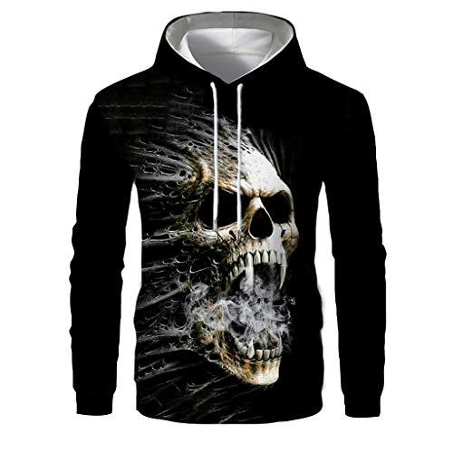 Celucke Herren Kapuzenpullover 3D Pullover Totenkopf Halloween Kostüme Langarm Sweatshirt Hoodie Männer Kapuzenjacke Mit Kangaroo Taschen (Schwarz, L)