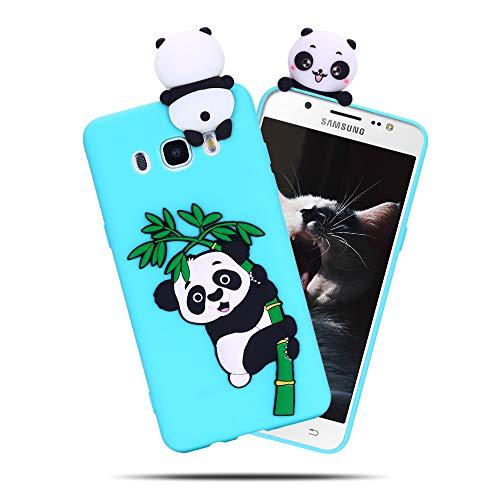 Cover per Samsung Galaxy J5 2016, Custodia Panda 3D Cartoni Carino CaseLover Fumetto Ultra Sottile Opaco Trasparente Morbida TPU Silicone Case Antiurto Creativo Anime Flessibile Gel Bumper Smartphone
