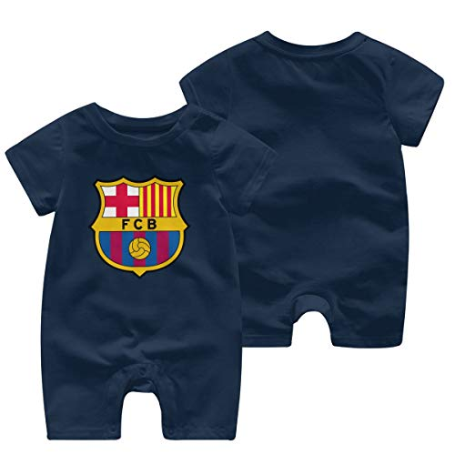 WPdragon Baby Newborn Girls Boys Fc Barcelona Logo Bodysuit T Shirt Tee Shirts Kids Short Sleeve Apparel Tshirt Navy 2t Clothes