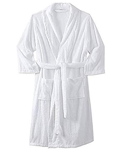 Sweet Needle - Albornoz para hombre (tamaño grande) con bolsillos, color blanco