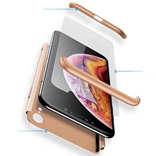 Fanxwu Compatible con Funda Xiaomi Mi MAX 3 Caso 3 en 1 combinación 360 Grados de Protección Case [Protector de Pantalla de Vidrio Templado] Resistente a Los Arañazos Cáscara - Oro