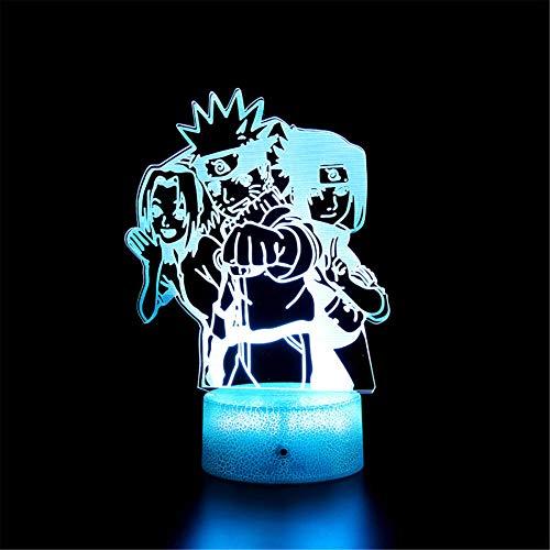 3D LED noche luz ilusión lámpara Naruto Sasuke Haruno Sakura 16 colores cambiantes luz nocturna con control remoto, regalo de cumpleaños para niños