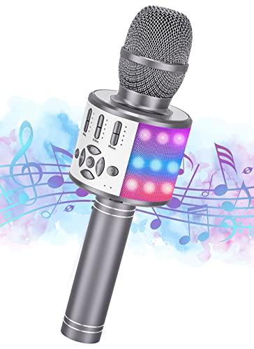 Ankuka Karaoke Mikrofon, Bluetooth Microphone Kinder, Tanzen LED Lichter Drahtlose Tragbares Microphon mit Lautsprecher Aufnahme für Erwachsene und Kinder, Kompatibel mit Android IOS PC, Grau