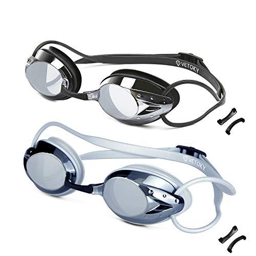 vetoky Swim Goggles, Anti Fog Swimming Goggles UV Protection Mirrored & Clear No Leaking Triathlon Equipment for Adult and Children