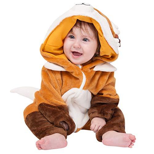 corimori (Baby Onesie Faye der Fuchs Süßes Tier Plüsch-Kostüm Strampler Braun Beige (60-70 cm)