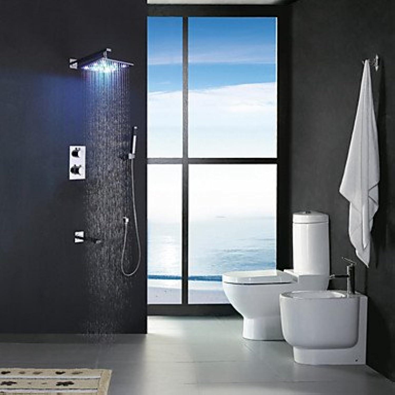 YFF@ILU 12 Zoll Chrom Thermostatische LED Badezimmer Badewanne Dusche, LED 7 Farben regen Duschkopf mit Messing Hand- und Auswurfkrümmer