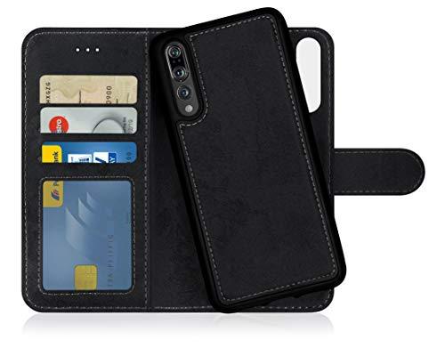 MyGadget Flip Case Handyhülle für Huawei P20 Pro - Magnetische Hülle aus Kunstleder Klapphülle - Kartenfach Schutzhülle Wallet - Schwarz