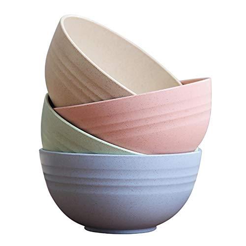 Amusingtao - Set di 4 ciotole per cereali infrangibili in paglia di frumento, lavabili in lavastoviglie e adatti al microonde, per dessert, riso, zuppa