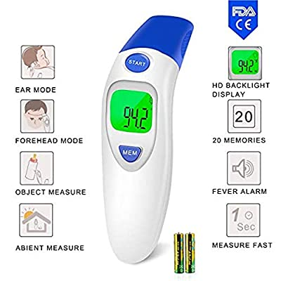 Baby Ear and Forehead Thermometer, Digital Infrared Instant Medical Thermometer Professional for Infants, Toddler, Adults and Objects - CE and FDA Certification
