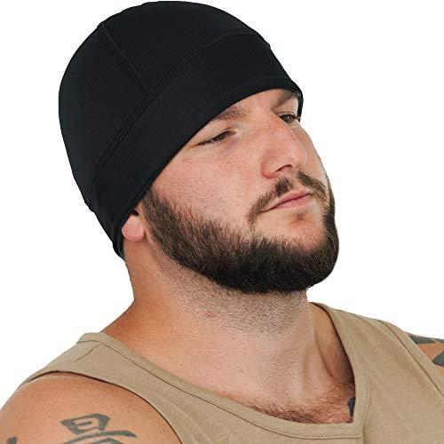 GearTOP Skull Cap for Men & Women, Beanie Skull Cap, Sports Beanie & Motorcycle Helmet Liner - Sweat Wicking Beanie Cap Ideal for Running, Work, Football, Cycling, Skiing (Cool Black)