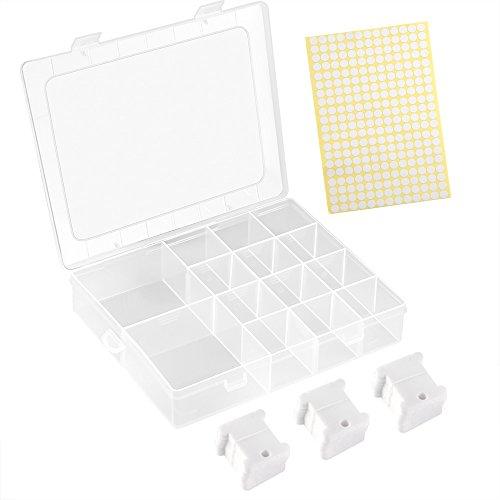 FEPITO 120 Stück Weißer Kunststoff Kreuzstich Stickgarn Spulen Kreuzstich Faden Set mit Aufbewahrungs Box und 260 Stück Leere Aufkleber