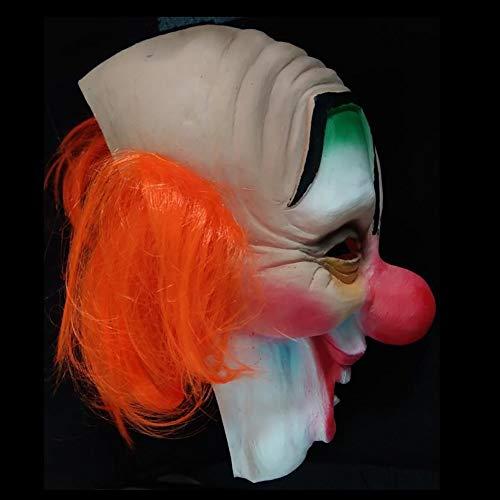 Miaoao-mask Clown Shawn Maske, Cosplay Film Horror Scary Lächeln schlechter Clown Halloween-Maske Kostüm Zubehör Latex for Erwachsene und Kinder mit roten Haaren