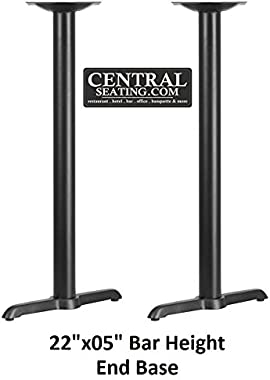 "Bar Height Restaurant Table Base Black Color 2 Prong Style, Indoor End Table Base KIT for Bar Table Tops, T Base, 22"" Wide Bottom, 41"" H Bar Height x 3"" Column. Perfect Table Base for Bar Use"