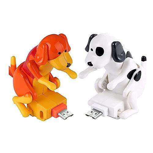 Cable de carga de teléfono móvil de 1,2 m, divertido mini perro USB cargador rápido Cable universal de datos de teléfono (blanco+naranja, para iPhone)