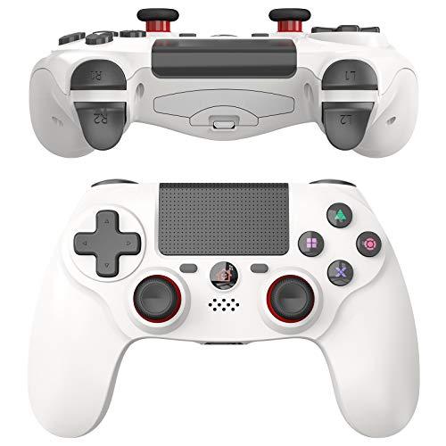 JOYSKY Mando Inalámbrico para PS4,Controlador De Juegos Inalámbrico con Control De Vibración Dual del Motor De Doble Palanca para Playstation 4 (Blanco)