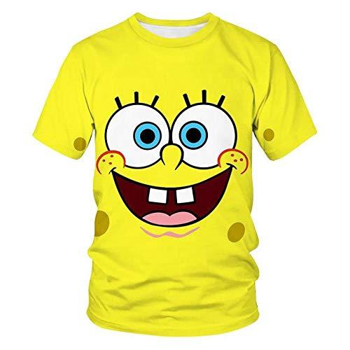 Sommer Kinder 3D T-Shirt Süß Spongebob T-Shirt Jungen 3Dt Shirt Mädchen 3Dt-Shirt Süß Lässig Top T-Shirt-Clear_140