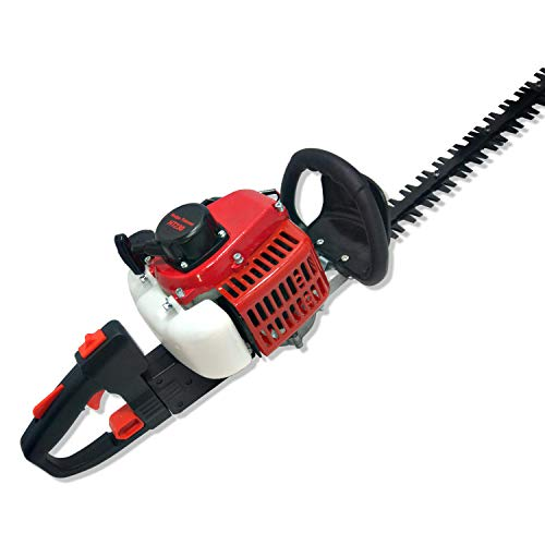 BAHU HT230 25.6cc 2-Cycle Gas Powered Hedge Trimmers 24.8-Inch Double-Sided Shrub Trimmer/Red