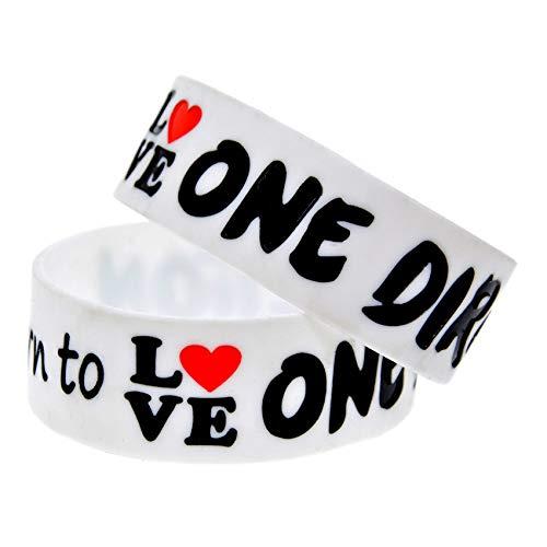 HSJ 10Pcs Pulseras De Una Sola Vía Nacidas En El Amor Star Soft Silicone Bracelets Inspiran Perfectamente Fitness, Baloncesto, Ejercicio para Encontrar, Ejercicio Y Tareas,Blanco
